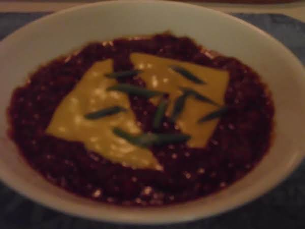 A Big Bowl 'o Chili,with Cheese And Green Onions,yum!