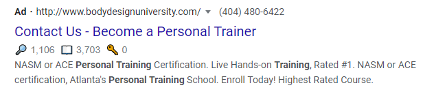 Powerful Call to action in title of the Ad- Search result.