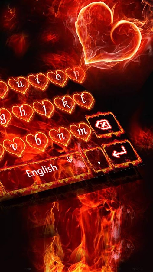 Red Fire Heart Keyboard Theme- screenshot