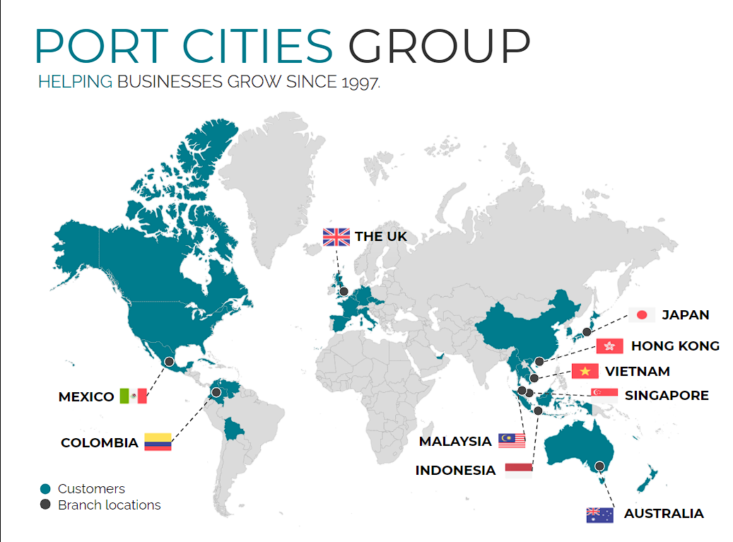 Map of Port Cities branches and countries of implementation