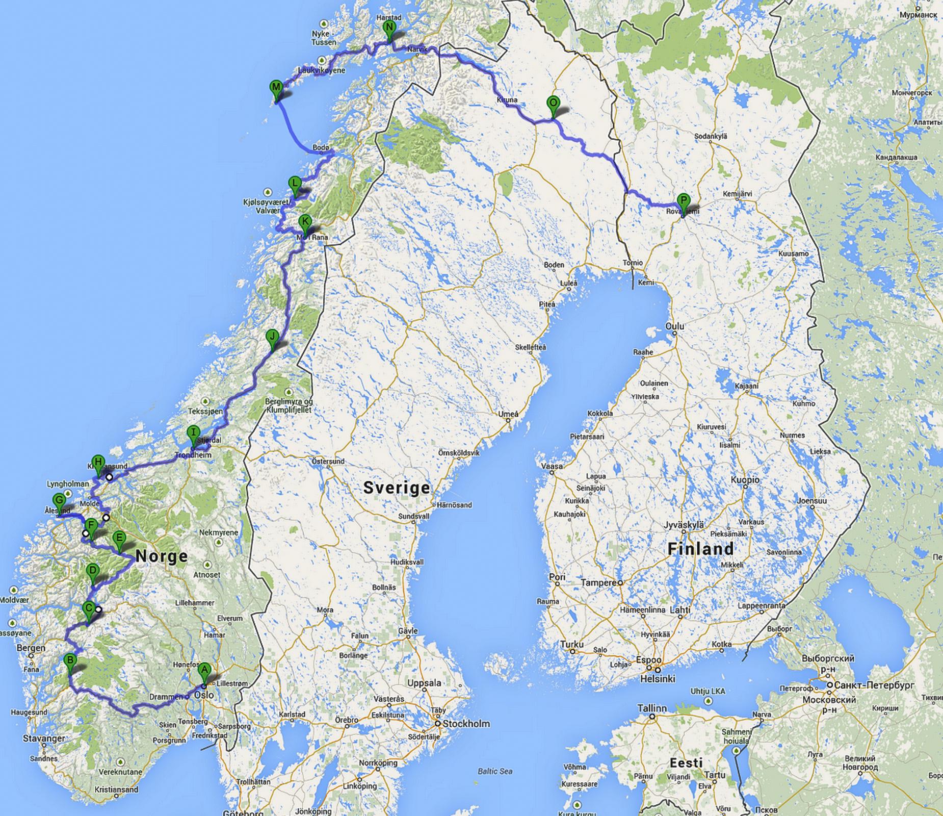 Photo: Наш маршрут по Норвегии... >> (шевроны означают, что есть доп. комментарии к фотографии))