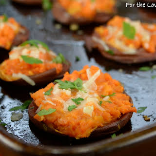 Garlic Butter Smashed Sweet Potatoes with Parmesan.