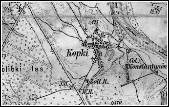 Photo: Fragment mapy z 1880 roku z uwidocznionym układem zabudowy Kopek. Widać szlak leżajski, zbudowaną przy nim leśniczówkę, dzisiaj leżącą przy skrzyżowaniu drogi leżajskiej z drogą Krzeszów - Groble. Co ciekawe zalew - jezioro istnieje w kształcie, w jakim został odtworzony kilka lat temu (podkowa). Z Kopek polna droga prowadzi do Kolonii Konstantynów - dzisiaj jest to Koziarnia... Na Sanie zaznaczona jest linia granicy państwowej pomiędzy Cesarstwem Austro - Węgierskim, a Cesarstwem Rosyjskim. Mieszkaliśmy więc w pasie nadgranicznym pomiędzy ówczesnymi mocarstwami. Skutki tego Rudnik i okolice odczuły w październiku 1914 roku...