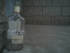 Photo: 1 big bottle of booze at the park, 1 big bottle of booze, Pick it up, drink it down, intoxicated fool at the park.