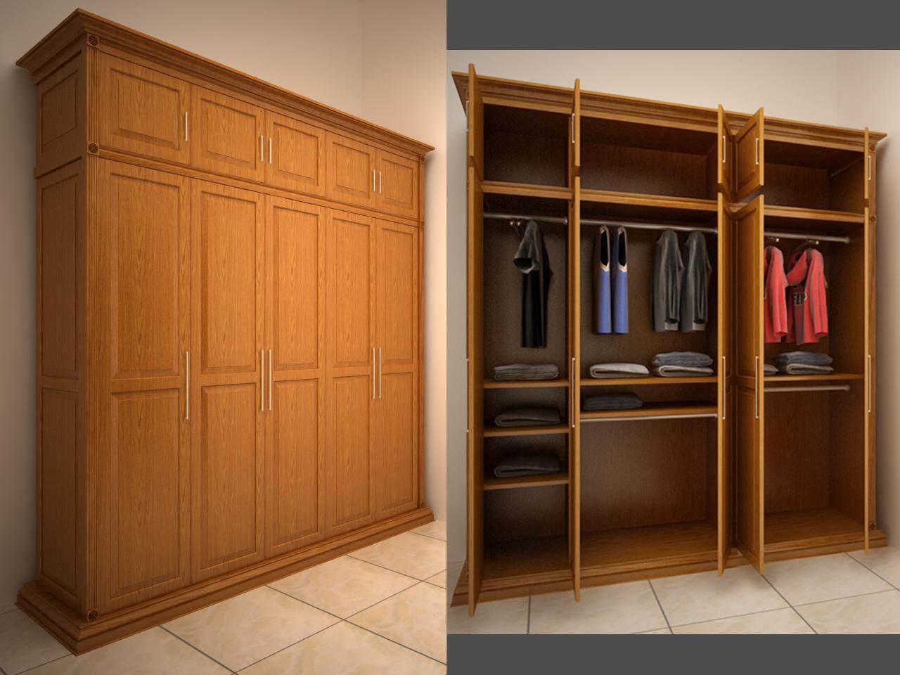 Tủ quần áo 5 cánh gỗ xoan đào đẹp