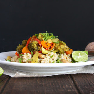 Vegetarian Curry Stew with Cashew Quinoa.