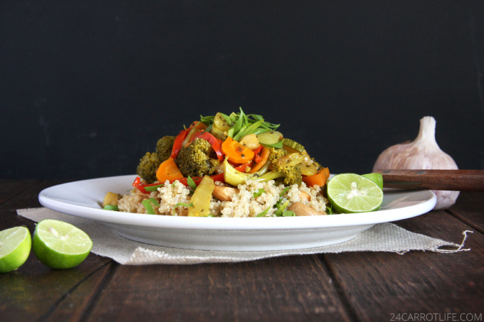 Vegetarian Curry Stew with Cashew Quinoa