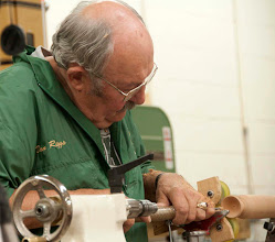 Photo: Don starts hollowing the goblet.