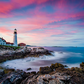 Portland Head Colors by Brad Kalpin - Landscapes Waterscapes ( portland head light house, waterscape, sunset, lighthouse, landscape )