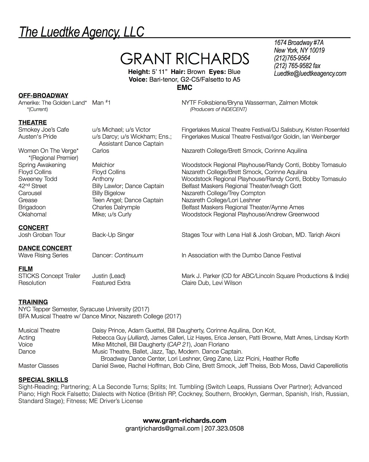 Successful Resume Format Resume  Grant Richards  Actor Singer Dancer Example Resume Objective Excel with Internship Resume Examples Click Here To Download Resume As Pdf Objective For Social Work Resume