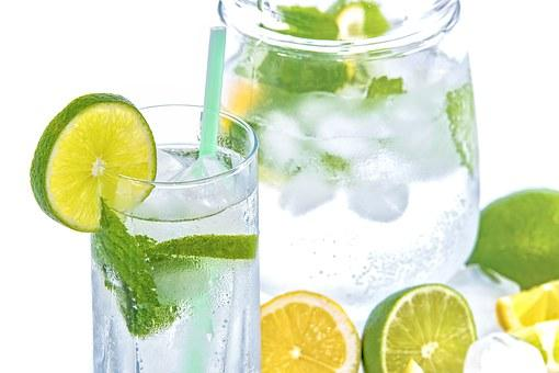 Mineral Water, Lime, Mint, Glass, Drink