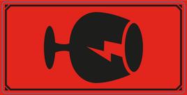 Varningsetikett SYMBOL Glas 50x100mm