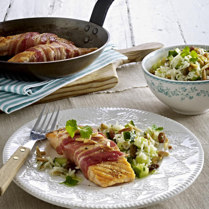 Bacon-Wrapped Salmon with Almond Rice Salad