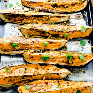 Roasted Eggplant with Creamy Harissa and Pistachios Recipe