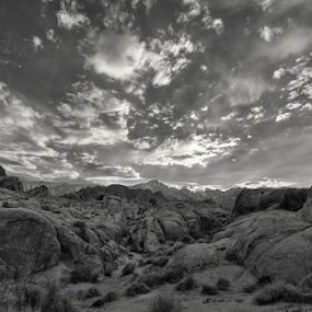 Boulder Dash by Michael Keel - Black & White Landscapes ( alabama hills, boulders, desert, mt. whitney, lone pine, sunset )
