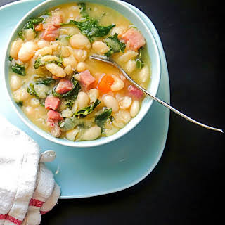 Smoked Ham, Kale And White Bean Soup.