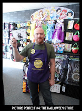 Photo: Point values for this target: 3 Points for any Halloween store employee; 5 Points for a Halloween store employee holding sign; 7 Points for Halloween store employee *with name tag visible* holding sign. Email your submission to contests@superficialgallery.com.