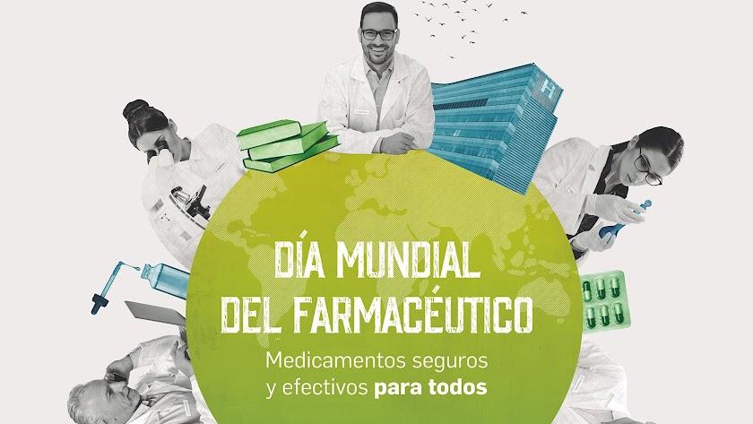 Detalle del cartel diseñado por el Día Mundial del Farmacéutico.