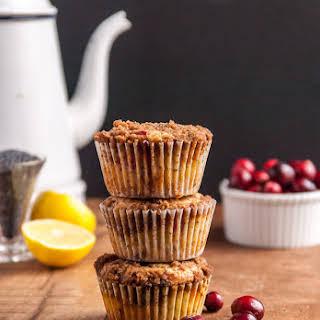 Cranberry Vegan Lemon Poppyseed Muffins.