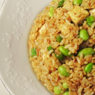 Garlic Fried Brown Rice with Tofu