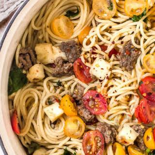 Caprese Pasta Salad With Beef.