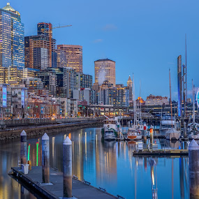 View from Pier 66, Seattle by Vamsi Sata - City,  Street & Park  Skylines ( 66, pier, ferris wheel, seattle, anthony's )