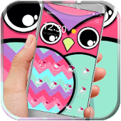 Owl kawaii pink blue
