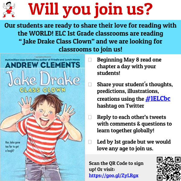 Photo: Looking for classes to join our Read Aloud Book Club! Let me know if you have any questions! We would love for your class to join us!  This is our first time trying something like this. We got our inspiration from Leka DeGroot (@lekadegroot).  The idea is to read a chapter a day and share your student's learning with us. We will use the #1ELCbc hashtag to share with each other. There is not a guideline for what has to be covered for the chapter. There may be a prompt (we are still thinking/working on this) but the sharing is totally up to your students & you.  Sign Up using this link: https://docs.google.com/forms/d/e/1FAIpQLSc02CcYYwi5MJcBz0dh6M9TYUje2cP6NQ8f-zMP-aaD7If6Tw/viewform