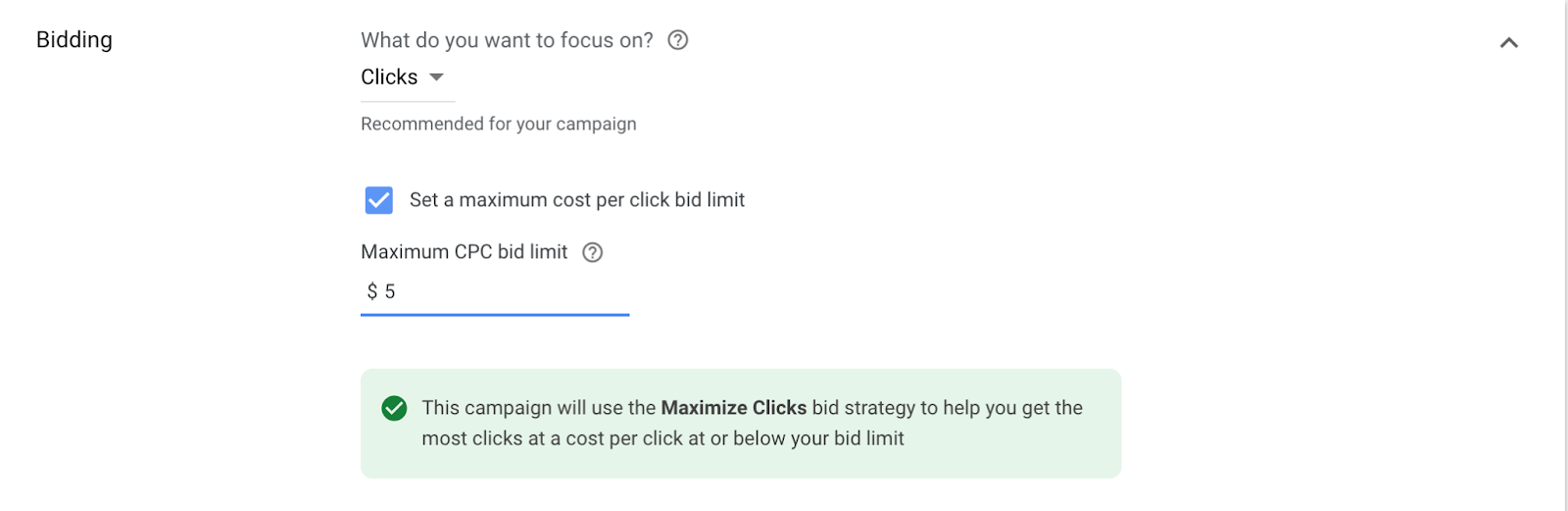 google ads campaign bidding section
