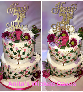 21st floral 2 tiered birthday cake