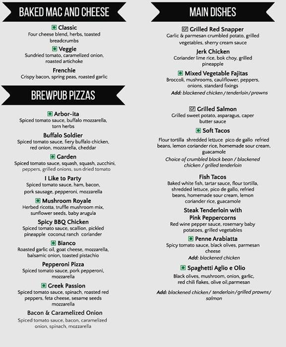 Arbor Brewing Company menu 8