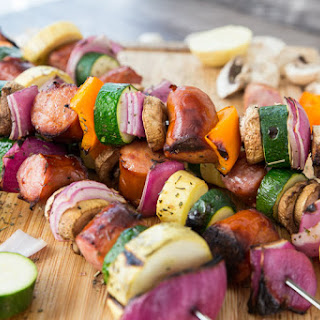 Grilled Sausage & Veggie Kabobs.