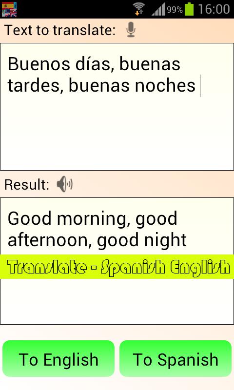 Translate spanish to english for free google