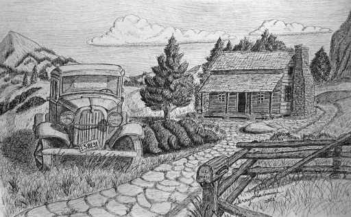 Pencil drawing of log cabin joy studio design gallery Cabin drawings