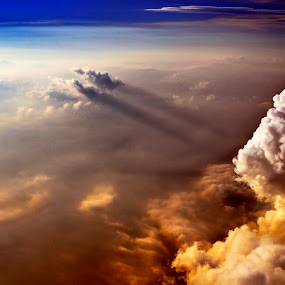 Drama. by Rob Jarvis - Landscapes Weather ( flying, red, window, mexico, weather, cloud, storm, pwcredscapes )