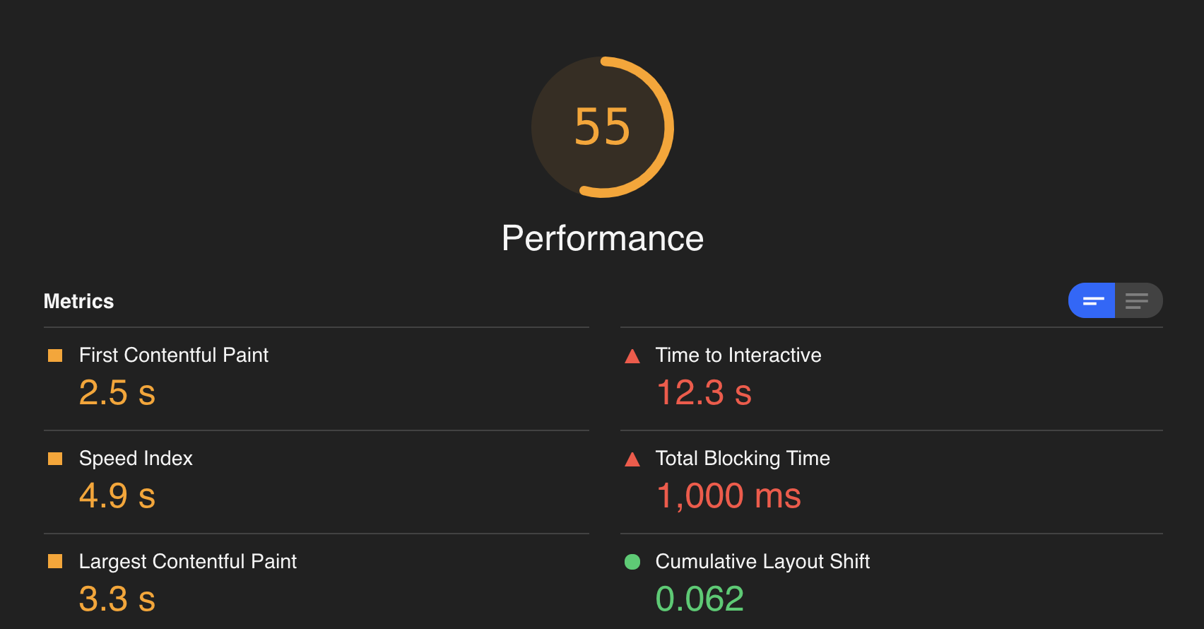 Lighthouse web page performance metrics including First Contentful Paint