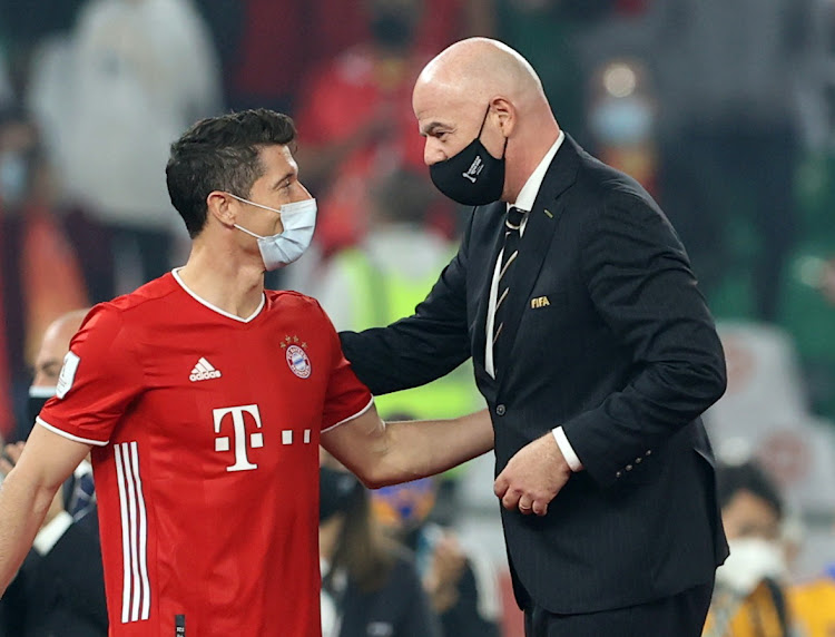 Fifa President Gianni Infantino with Bayern Munich's Robert Lewandowski in a past match
