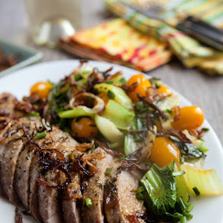 Butter-bathed Pork Tenderloin with baby Bok Choy Medley and Frizzled Shallots