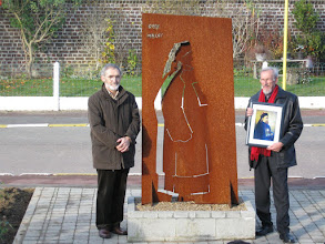 Photo: Rene Hallet, left, is the artist who created the monument.  Christian Goens at right.