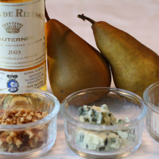 Roquefort and Walnut-Stuffed Roasted Pears with Sauternes Syrup.