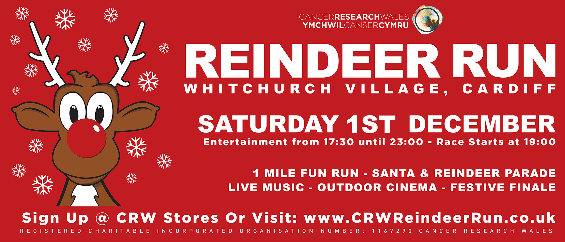 Cancer Research Wales Reindeer Run 2018 Timetable of events 1st December 2018