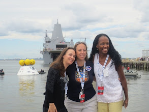 Photo: Me, Angela & Lauren with the Orion and USS Arlington, a San Antonio-class amphibious transport dock of the US Navy