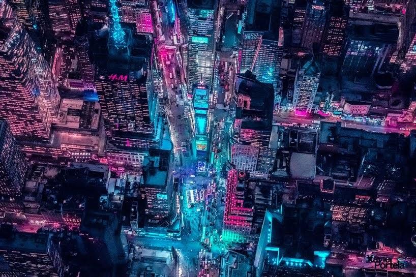 Fotografías aéreas de paisajes urbanos bañadas en un resplandor de neón