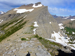 Photo: Norris Mountain - the ridge in foreground is divide between Pacific on left and Hudson Bay on right.
