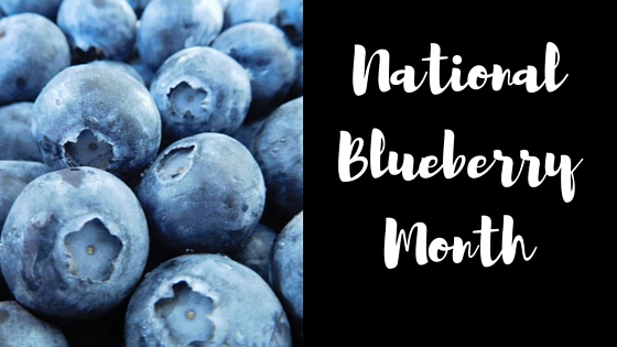 national blueberry month poster featuring a close up of blueberries.
