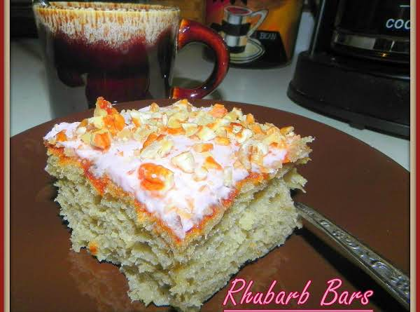 Rhubarb Cake With Pink Pineapple Frosting