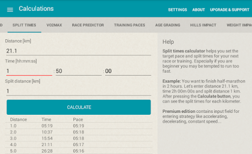 Running calculator- screenshot thumbnail