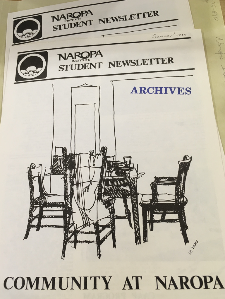 Front cover of the Naropa Student Newsletter with title: Community at Naropa. Features a line drawing of empty chairs around a table.
