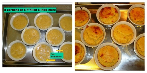 Spread mixture evenly in 6 to 8 generously buttered 7 oz ramekins.  Bake...