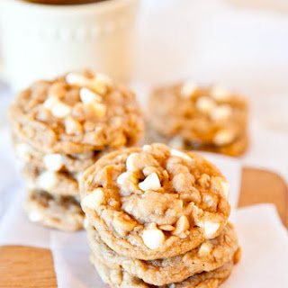 Soft and Chewy Peanut Butter Oatmeal White Chocolate Cookies.